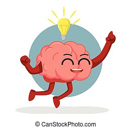 brain character jumping and get idea