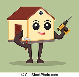 house character with drill and hammer