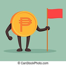 currency character peso with flag