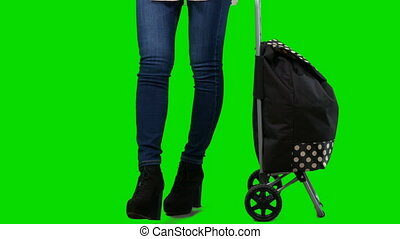 Young woman in high heels with shopping wheeled grocery bag against green screen