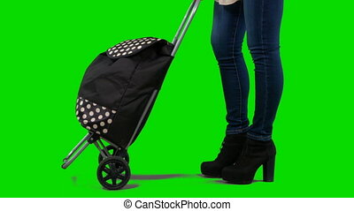 Woman with shopping bag on wheels against green screen....