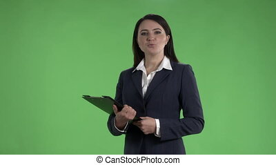 Business woman with folder for papers during a presentation...