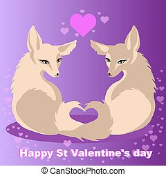 Two vector foxes in love for St Valentines day - Two foxes...