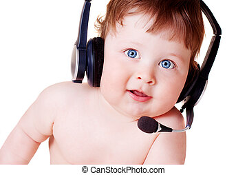 baby in headset - portrait of happy baby on white background