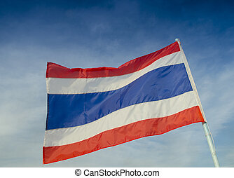 thailand flag with nice sky on flagstaff