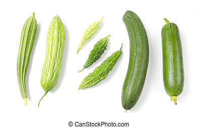 Set of different vegetables isolated on the white background