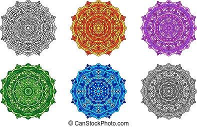set mandala different colors - vector set mandala in...