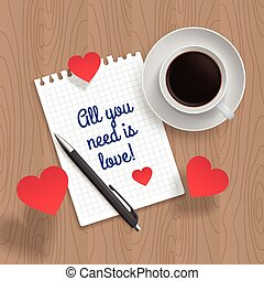 Quote: All You Need is Love. Romance message for poster,...