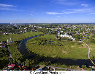 Aerial view on kremlin in Suzdal, Russia - Aerial view on...