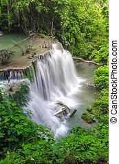 Huay Mae Kamin Waterfall, beautiful waterfall in autumn...