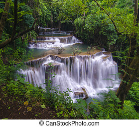 Huay Mae Kamin Waterfall, beautiful waterfall in autumn...