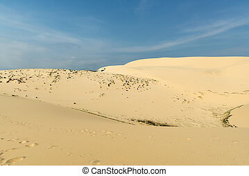 White sand dunes with blue skies, Mui Ne, Vietnam