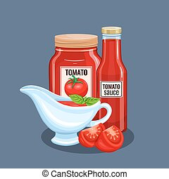 Tomato sauce bottle and saucers. Vector illustration for...