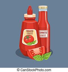 Tomato sauce bottle. Vector illustration for restaurant...