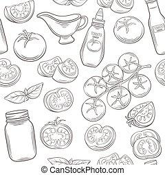 Tomato seamless pattern. - Tomato monochrome seamless...