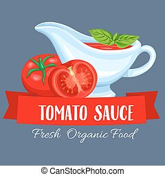 Saucers with tomato sauce. Label restaurant menu vector...