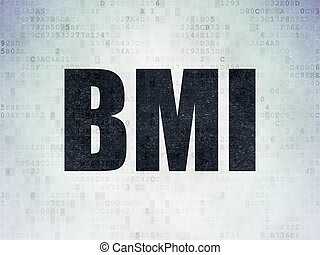 Health concept: BMI on Digital Data Paper background