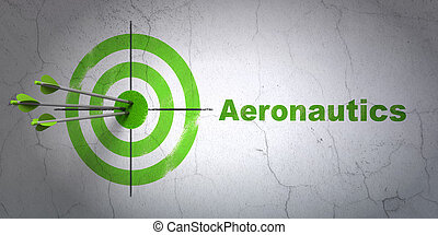 Science concept: target and Aeronautics on wall background -...