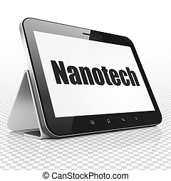 Science concept: Tablet Computer with Nanotech on display -...