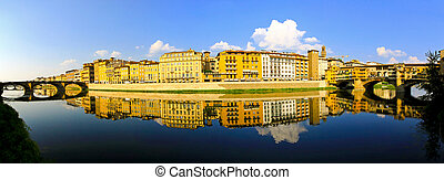 Arno river Florence - River bank of Arno at Florence Tuscany...