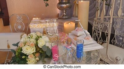 wedding decorations on table