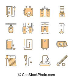 Water heater, boiler, thermostat, electric, gas, solar heaters and other house heating equipment line icons. Thin linear pictogram for hardware store. Household appliances signs