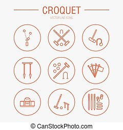 Croquet sport game vector line icons. Ball, mallets, hoops,...