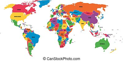 Multi-colored political vector map of World with national borders and country names on white background