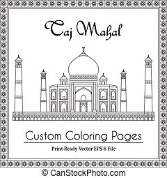 Taj Mahal Temple Coloring Book - Taj Mahal Temple in India....