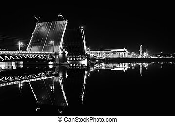 Palace bridge in Saint Petersburg, Russia at night