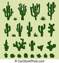 Set of green cacti - Set of different types of green cactus...