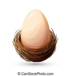 Bird Nest With Egg - Bird nest and big chicken egg on white...