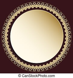 Nice Vector Greeting Card - Round vector golden frame with...
