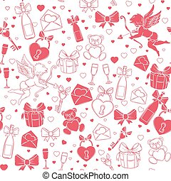 Valentines day seamless pattern with decorative symbol....