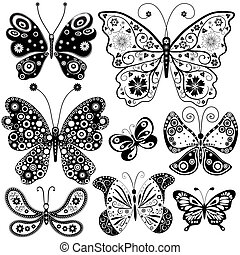 Collection black and white butterflies