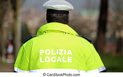 policeman with high visibility uniform and the words local...