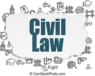 Law concept: Civil Law on Torn Paper background - Law...