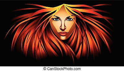 Beautiful girl with fire red hair - Illustration of...
