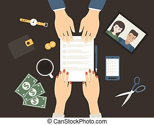 Contract - The signing of the contract in flat style. Vector...