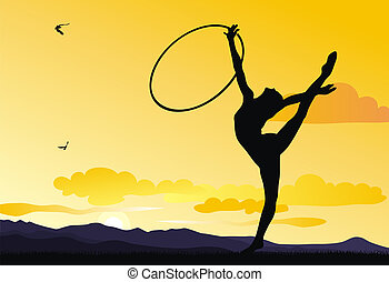 Rhythmic gymnastic - Abstract illustration of rhythmic...