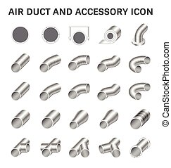 Duct Pipe Icon - Vector icon of air duct pipe connector for...
