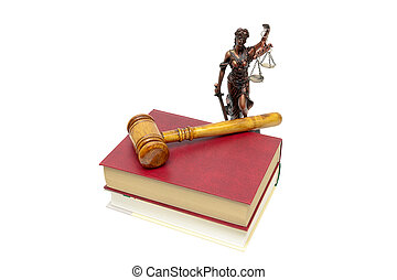 Justice statue, book and judges gavel on a white background....