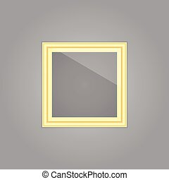 Created gold picture frame with mirror reflection