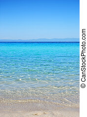 Armenistis beach in Sithonia, Chalkidiki, Greece, with view...