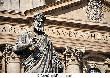 Statue of Saint Peter in Piazza San Pietro, Vatican -...