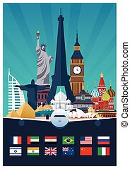 Big Collection of Travel poster to country. Vecor Flat...
