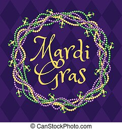 Mardy gras purple background with colorful beads