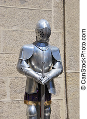 Medieval armor. Metallic dress for autoprotection