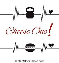 Choose one template with kettlebell and hamburger