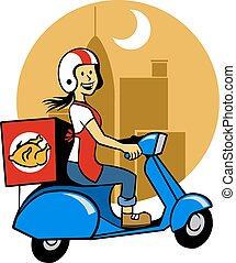 Fried Chicken Courier - Vector illustration of fried chicken...